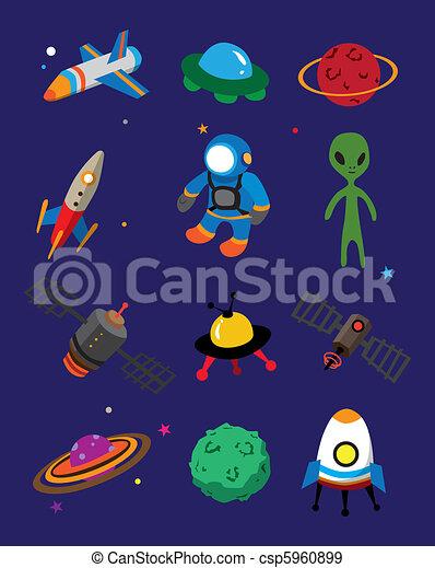 Eps vectores de caricatura espacio icono csp5960899 - Dibujos infantiles del espacio ...
