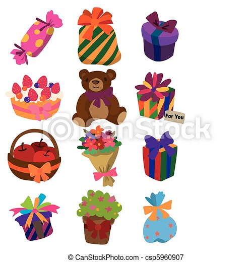 cartoon gift icon  - csp5960907