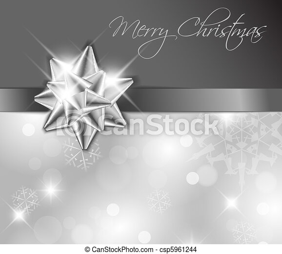 Silver ribbon with bow - Christmas card - csp5961244