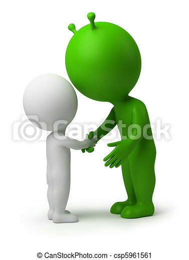 3d small people - hand shake of the alien - csp5961561