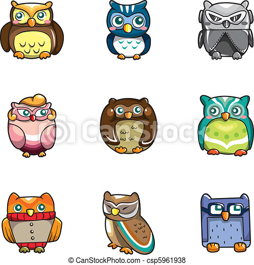 cartoon owls icon  - csp5961938
