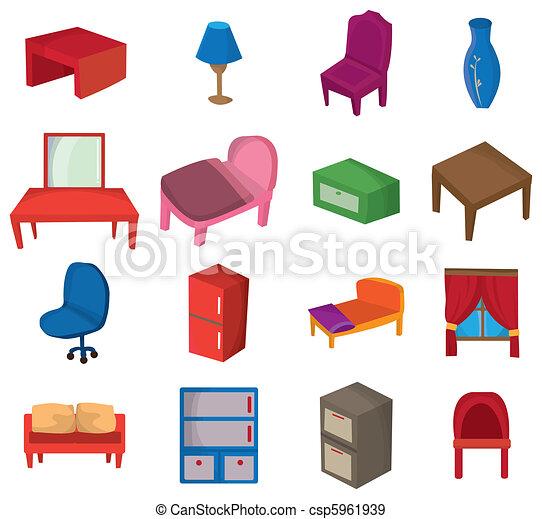 cartoon Furniture icon  - csp5961939