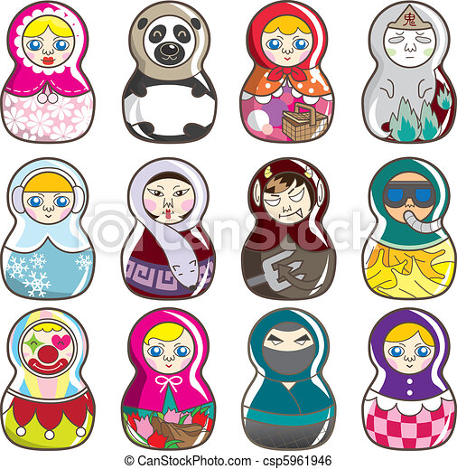 cartoon Russian dolls - csp5961946