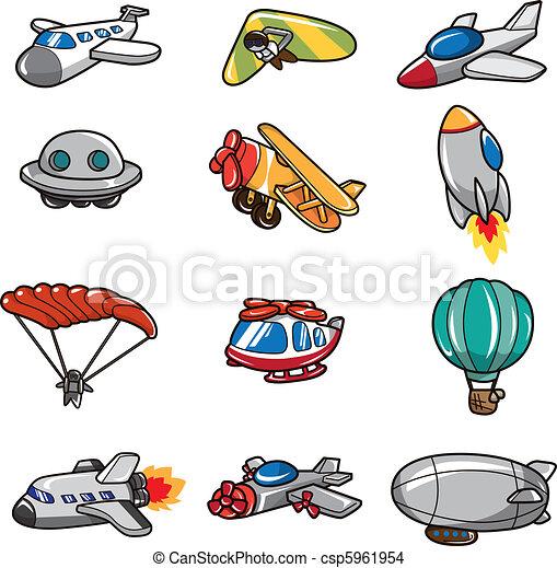 cartoon airplane icon  - csp5961954