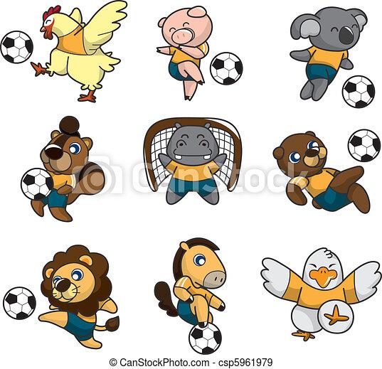 Vettori eps di giocatore calcio cartone animato animale - Animale cartone animato immagini gratis ...