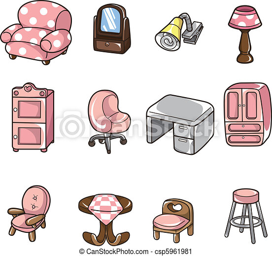 Vector Clip Art Of Cartoon Furniture Icon Cartoon