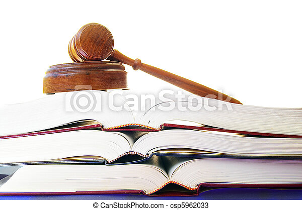 legal gavel on a stack of law books - csp5962033