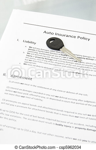auto insurance policy and car key - csp5962034