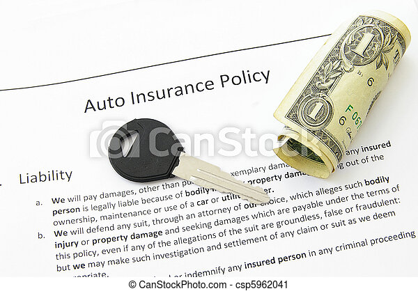 auto insurance policy and car key with money - csp5962041
