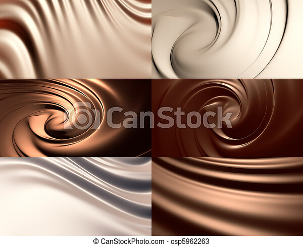 6 abstract chocolate backgrounds set - csp5962263