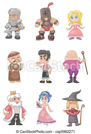 cartoon medieval people  - csp5962271