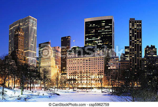 New York City Manhattan Central Park panorama in winter - csp5962759