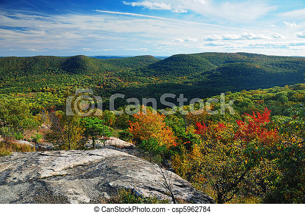 Autumn Mountain peak view panorama  - csp5962784
