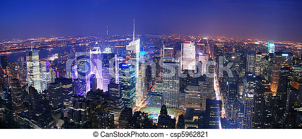 New York City Manhattan Times Square skyline aerial view - csp5962821
