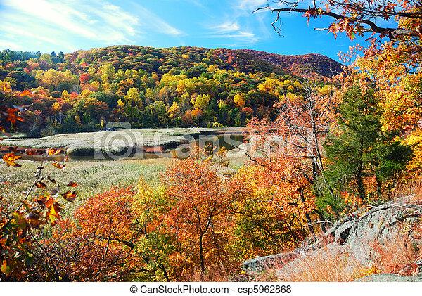 Autumn Mountain with lake - csp5962868