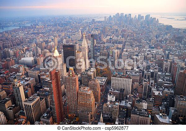 New York City Manhattan skyline aerial view - csp5962877