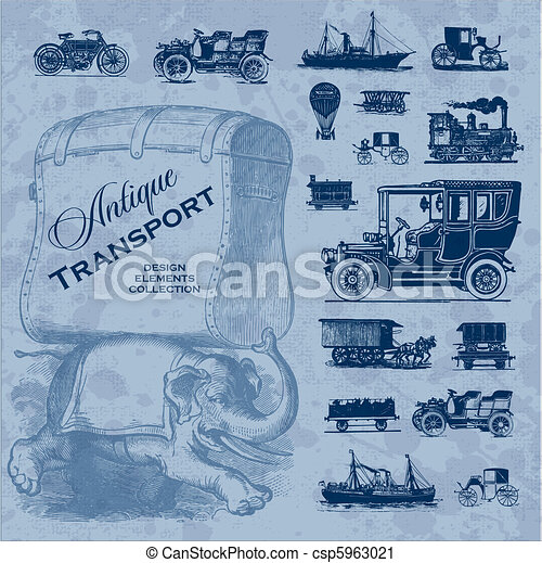 antique transportation set (vector) - csp5963021