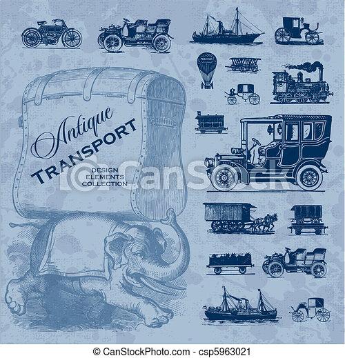 antique transportation set (vector) - csp5963021