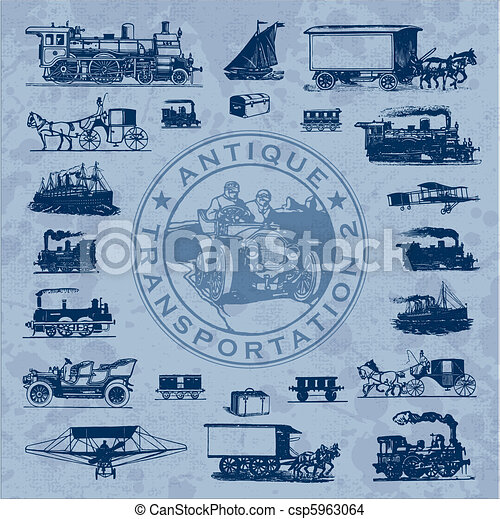 antique transportation set (vector) - csp5963064