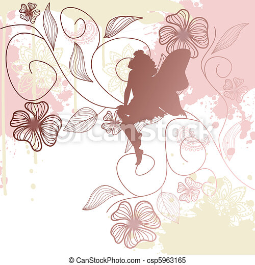 Floral background with fairy shape - csp5963165
