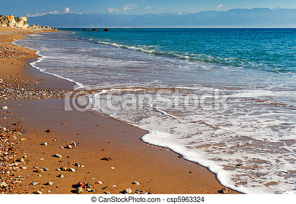 Long and inviting sandy beach in the Mediterranean - csp5963324