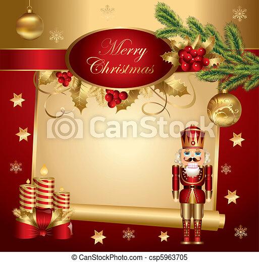Christmas banner with nutcracker  - csp5963705