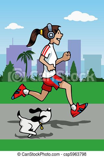 Running girl with headphones  & dog - csp5963798