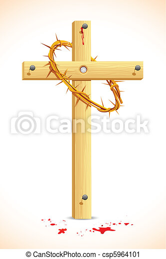 Crown of thorns on Wooden Cross - csp5964101