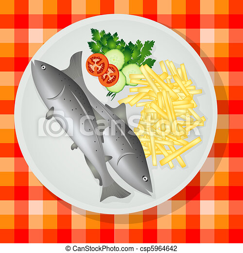 Traditional fish and chips - csp5964642