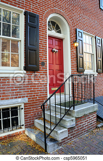 Front Door of Residence in Old City Philadelphia, Pennyslvania - csp5965051