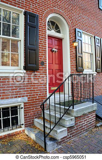 Front Door of Residence in Old City Philadelphia, Pennyslvania - csp5965051