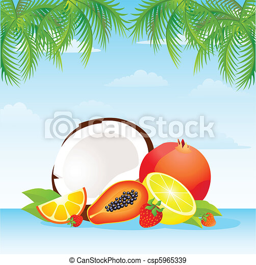 tropical fruit basket - csp5965339