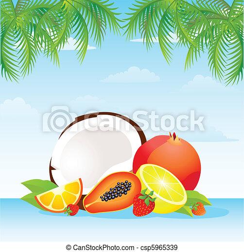 tropical fruit basket - csp5965339