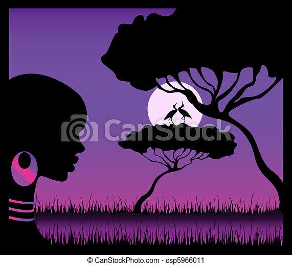 girl against a decline in a safari - csp5966011