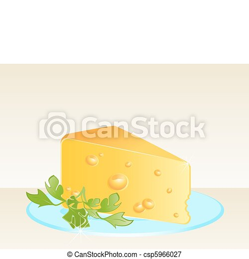 Tasty yellow cheese on a plate - csp5966027