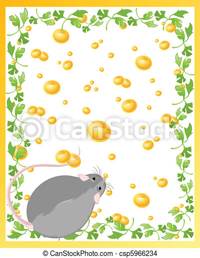 Funny rat and cheese - csp5966234