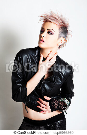 Attractive Young Woman in Punk Attire - csp5966269