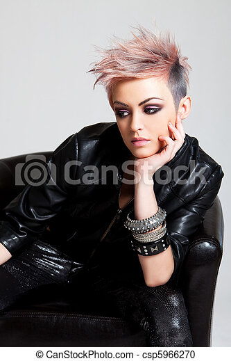 Attractive Young Woman in Punk Attire - csp5966270