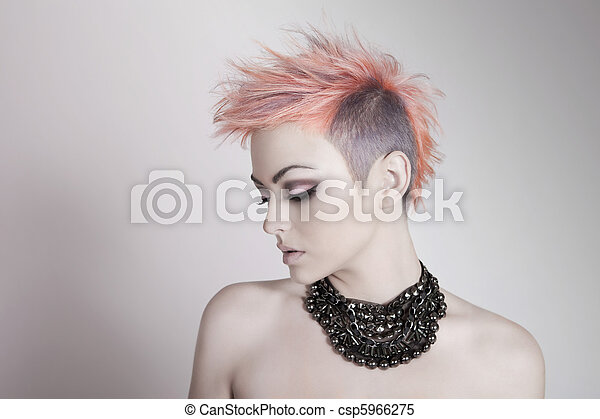 Attractive Young Woman With a Punk Hairstyle - csp5966275