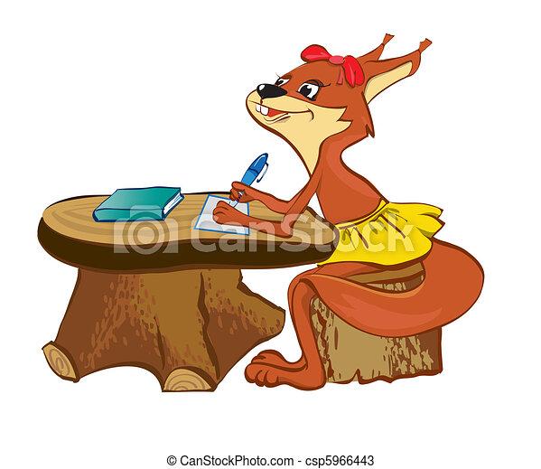 The squirrel sits at a school desk - csp5966443