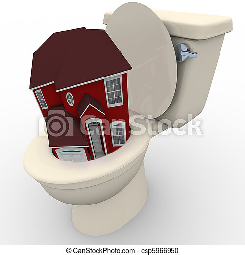 House Flushing Down Toilet - Falling Home Values - csp5966950