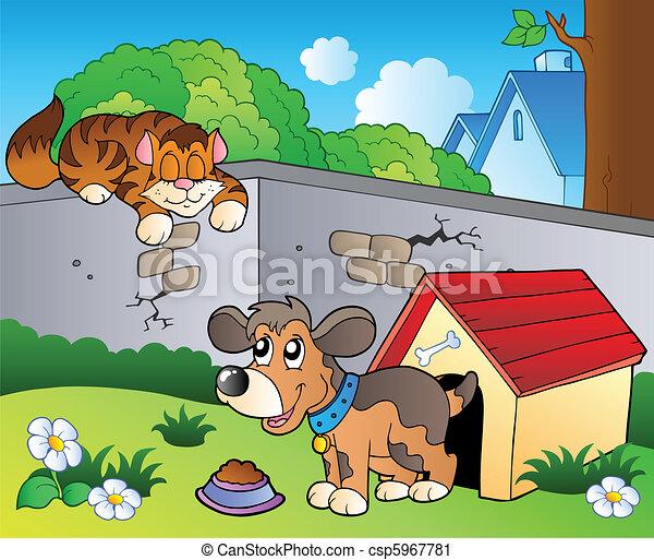 Backyard with cartoon cat and dog - csp5967781