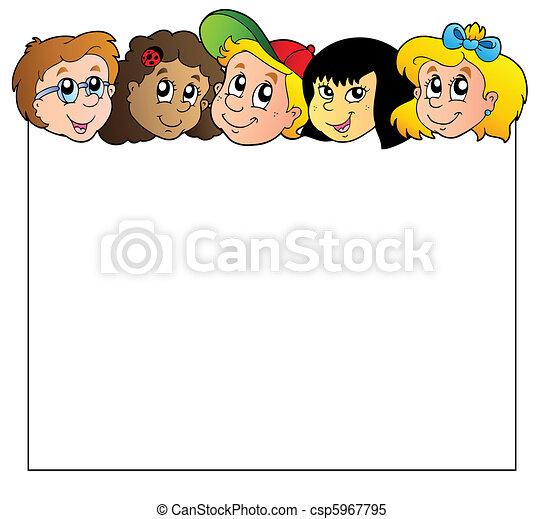 Blank frame with children faces - csp5967795