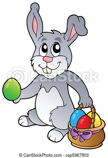 Bunny and Easter eggs - csp5967803