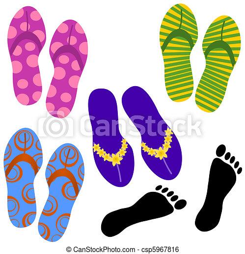 Beach Sandals Drawing Beach Sandals Csp5967816