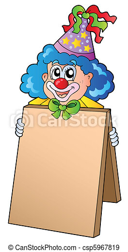 Clown holding information board - csp5967819