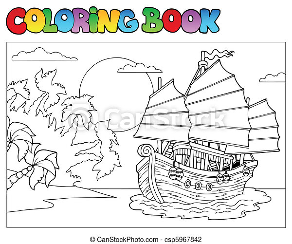 Coloring book with Chinese ship - csp5967842