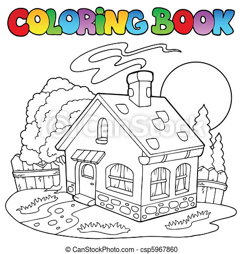 Coloring book with small house - csp5967860