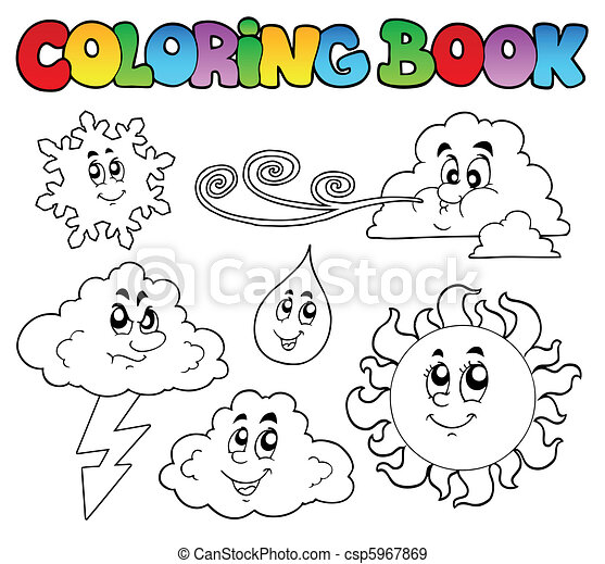 Coloring book with weather images - csp5967869