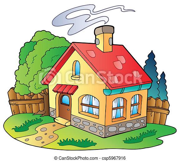Clip art vecteur de petit maison famille petit - Maison de campagne dessin ...